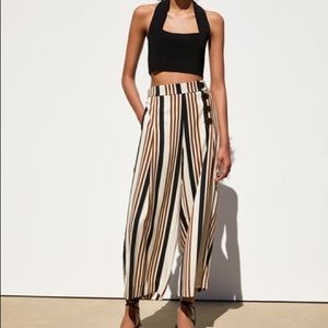 Zara striped cropped pants